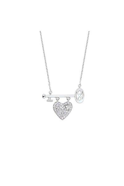 Harem Altın Kalpli Anahtarlı Sonsuzluk Gümüş Kolye - Gms1676