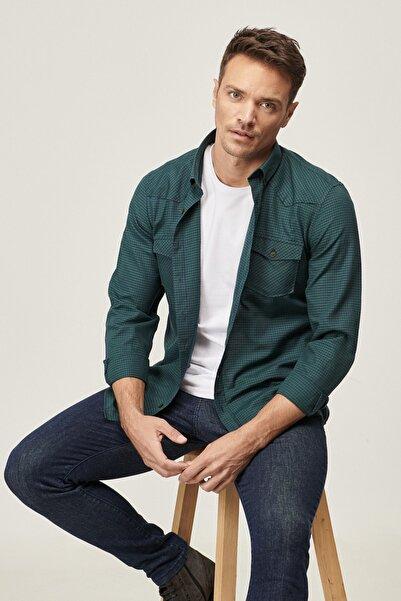 ALTINYILDIZ CLASSICS Erkek SIYAH-HAKI Tailored Slim Fit Düğmeli Yaka Kareli Flanel Kışlık Gömlek