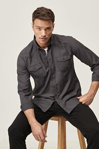 ALTINYILDIZ CLASSICS Erkek Siyah-Gri Tailored Slim Fit Düğmeli Yaka Kareli Flanel Kışlık Gömlek