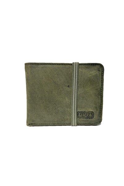 DİGA 794 Hakiki Deri Lastikli Kartlık Ve Cüzdan Eskitme Yeşil