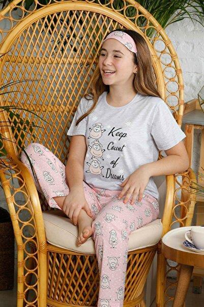 Mossta Kız Çocuk Gri Kısa Kol Çocuk Pijama