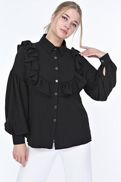 sarıbalon Kadın Siyah Fırfır Detaylı Balon Kol Auorobin Gömlek