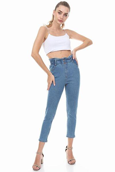 sarıbalon Kadın Mavi Beli Lastikli Boyfriend Pantolon