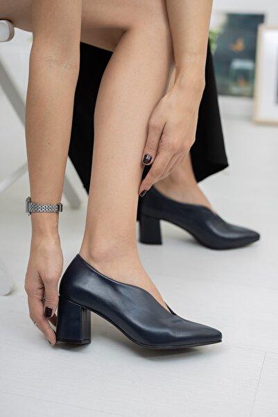 Zeus Sandals Kadın Lacivert Hakiki Deri Ayakkabı