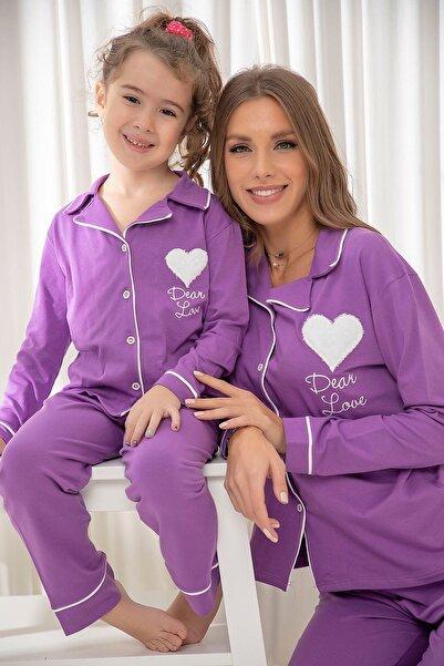 Siyah İnci Mor Pamuklu Likrali Düğmeli Biyeli Pijama Takım