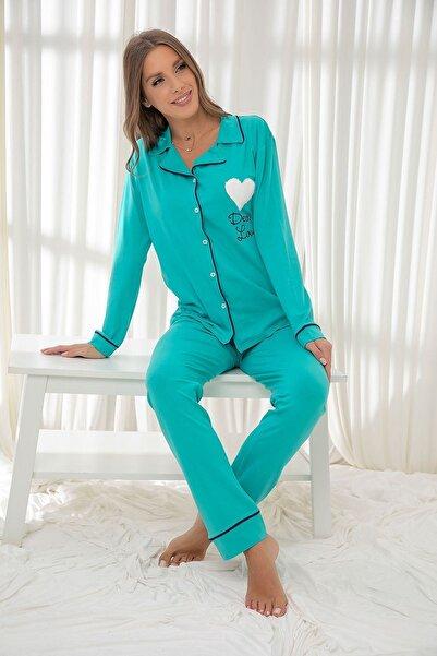 Siyah İnci Açıkyeşil Pamuklu Likrali Düğmeli Biyeli Pijama Takım