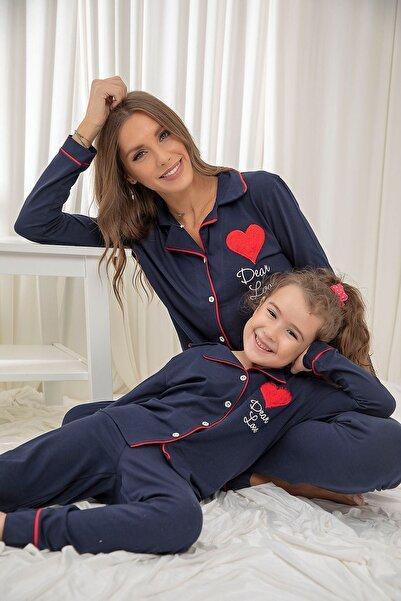 Siyah İnci Lacivert Pamuklu Likrali Düğmeli Biyeli Pijama Takım