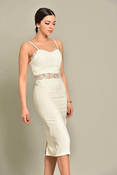 Modakapimda Beyaz Güpür Detaylı Kalem Nikah Elbise