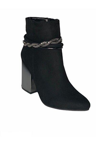 PUNTO Kadın Siyah Süet Topuklu Bot