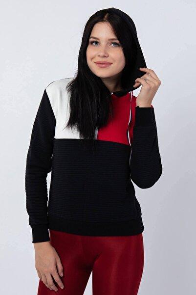 Mossta Kadın Siyah Fermuarlı Kapüşonlu Sweatshirt