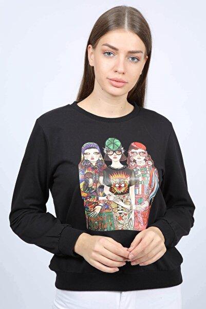 Mossta Kadın Siyah Baskılı Sweatshirt