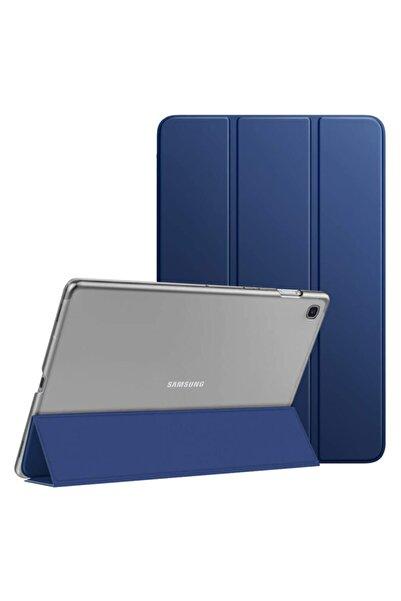 Microsonic Samsung Galaxy Tab A7 T500 Kılıf Slim Translucent Back Smart Cover Lacivert