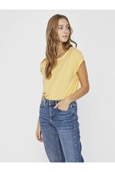 Vero Moda Kadın Sarı Basic Kısa Kollu Üst T-Shirt 10187159 VMAVA