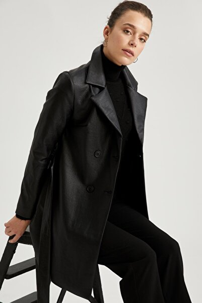 DeFacto Kadın Siyah Kuşaklı Relax Fit Trençkot