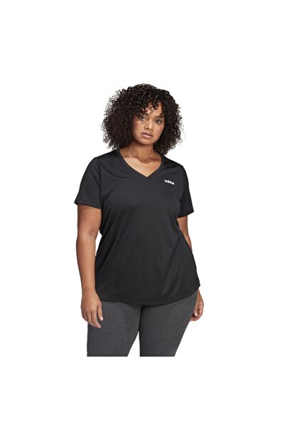 adidas Kadın Siyah Antrenman Tişört Designed 2 Move Plus Size Fm0176