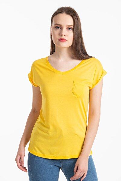 Mossta Kadın Sarı V Yaka Cepli T-shirt