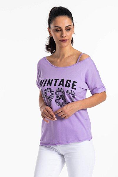 Mossta Kadın Mor Düşük Omuz Vintage T-shirt