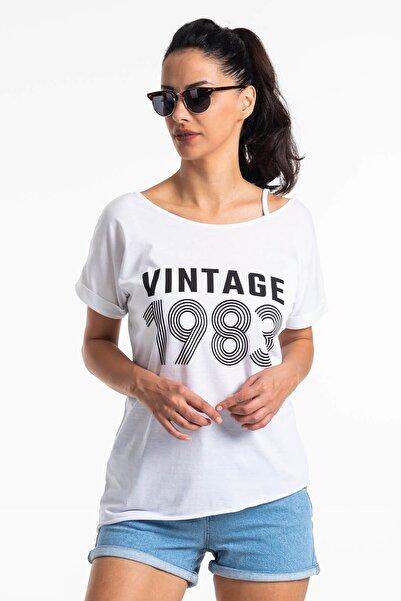 Mossta Kadın Beyaz Düşük Omuz Vintage T-shirt
