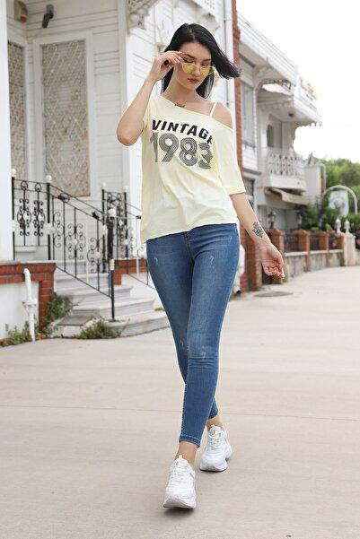 Mossta Kadın Sarı Düşük Omuz Vintage T-shirt