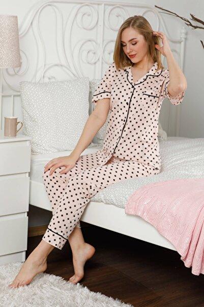 Mossta Kadın Pembe Düğmeli Kısa Kol Pijama Takımı