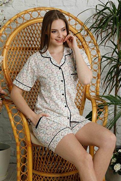 Mossta Kadın Ekru Düğmeli Şortlu Pijama Takımı