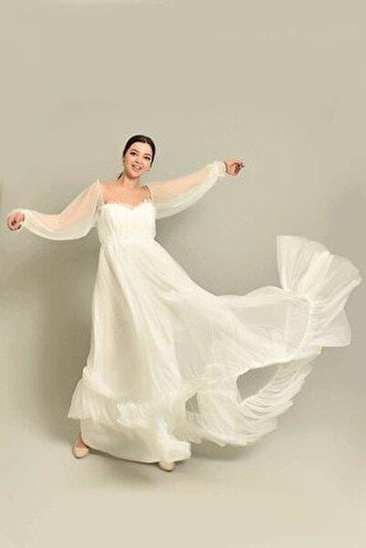 Kadın Beyaz Tül Abiye Elbise