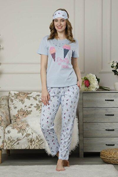 Mossta Kadın Mavi Kısa Kol Pijama Takımı