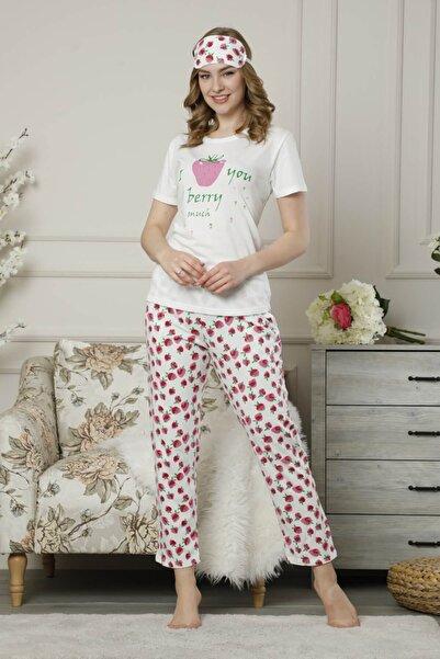 Mossta Kadın Beyaz Kısa Kol Pijama Takımı