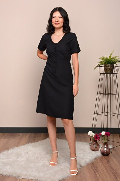 Mossta Kadın Siyah Düğmeli Keten Elbise
