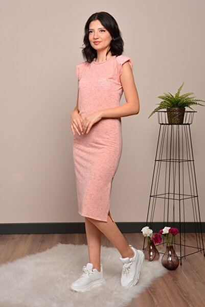 Mossta Kadın Pembe Vatkalı Basic Elbise