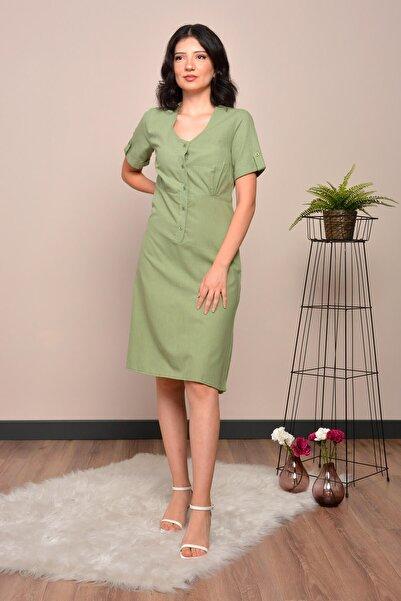 Mossta Kadın Yeşil Düğmeli Keten Elbise