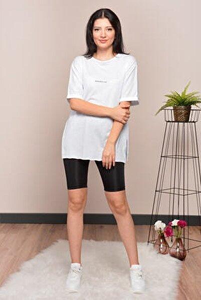 Kadın Beyaz Yırtmaçlı Lazer Kesim T-shirt