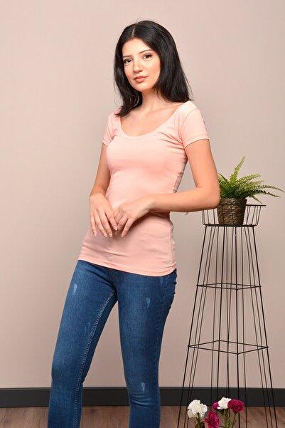 Mossta Kadın Pudra Basic Body U Yaka Tshirt