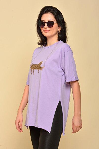 Mossta Kadın Mor Yırtmaçlı Salaş T-shirt