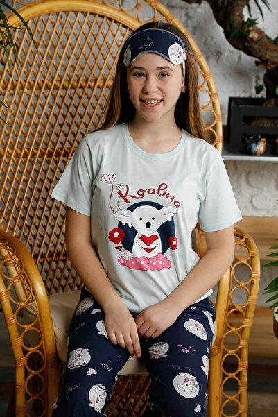 Mossta Kız Çocuk Mavi Kısa Kol Pijama