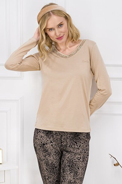 Pierre Cardin Kadın Koyu Bej Kadın Uzun Kollu Pijama Takımı