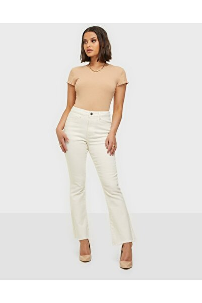 River Island Kadın Beyaz Straight Fit Power Elastan Jeans