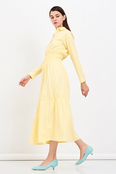Mossta Kadın Sarı Bel Lastikli Gömlek Elbise