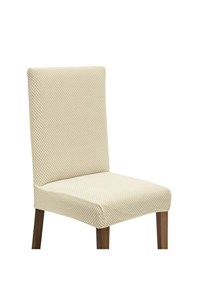Latuda Concept Latuda Likralı Yıkanabilir Sandalye Kılıfı | Sandalye Örtüsü Krem 6 Adet