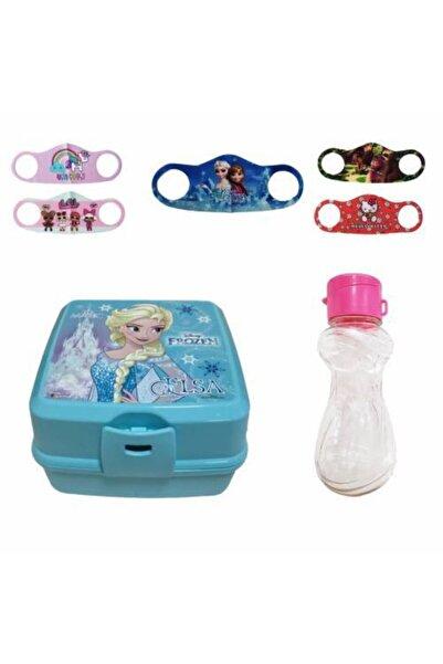 Mashotrend Frozen Elsa Desenli Beslenme Kabı İkokul Yemek Kabı + 5 Adet Maske + Suluk