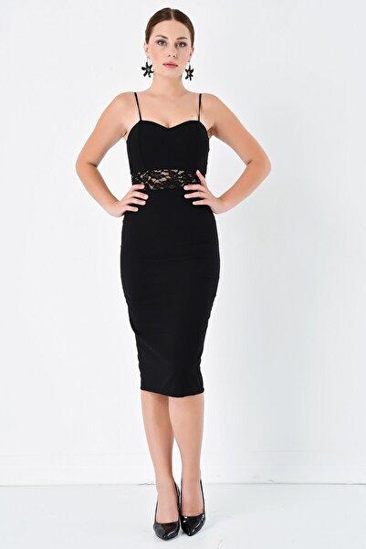 Modakapimda Kadın Siyah Kalem Dantel Detay Elbise