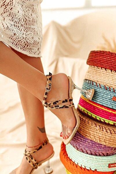 Limoya Kadın Kahverengi Şeffaf Hasır Leopar Desen Bantlı Topuklu Sandalet
