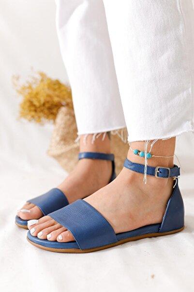 Limoya Kadın Kot Mavi Hakiki Deri Tek Bantlı Comfort Sandalet