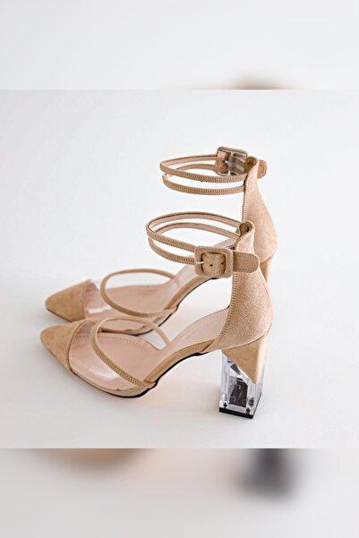 Limoya Kadın Bej Süet Şeffaf Tek Bantlı Şeffaf Topuklu Stiletto