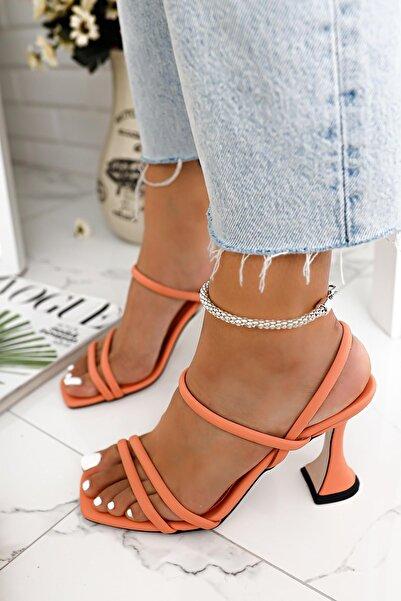 Limoya Kadın Turuncu Brooklyn İnce Bantlı Topuklu Sandalet