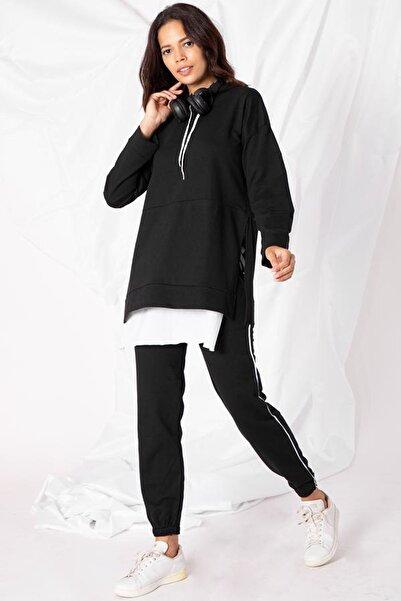 Zafoni Kadın Siyah Etek Parçalı Tunik Takım