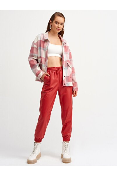 Dilvin Kadın Kırmızı Lastikli Deri Jogger Pantolon 7747