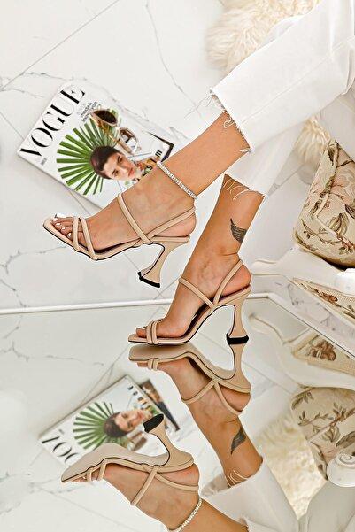 Limoya Kadın Nude İnce Bantlı Şampanya Topuklu Sandalet