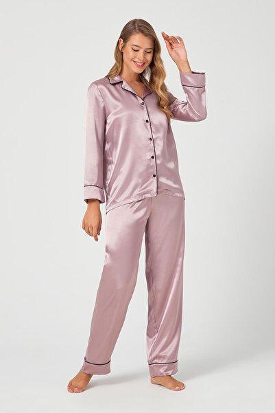 Cottonhill Kadın Bej Önden Düğmeli Pijama Takımı