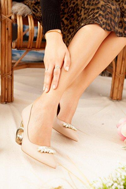 Limoya Kadın Bej Taşlı Halka Topuklu Stiletto